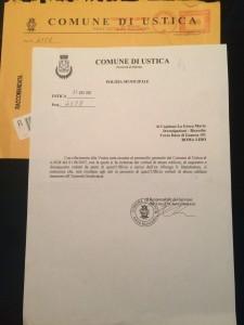 Documento della Polizia Minicipale di Ustica prot. n. 4528 del 27 agosto 2007