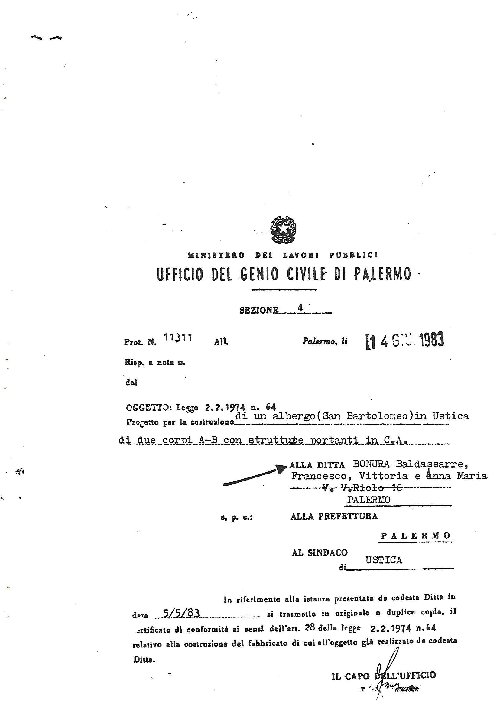 Certificato di conformità Genio-Civile-1983-trasmesso al Sindaco del Comune di Ustica e alla Prefettura di Palermo