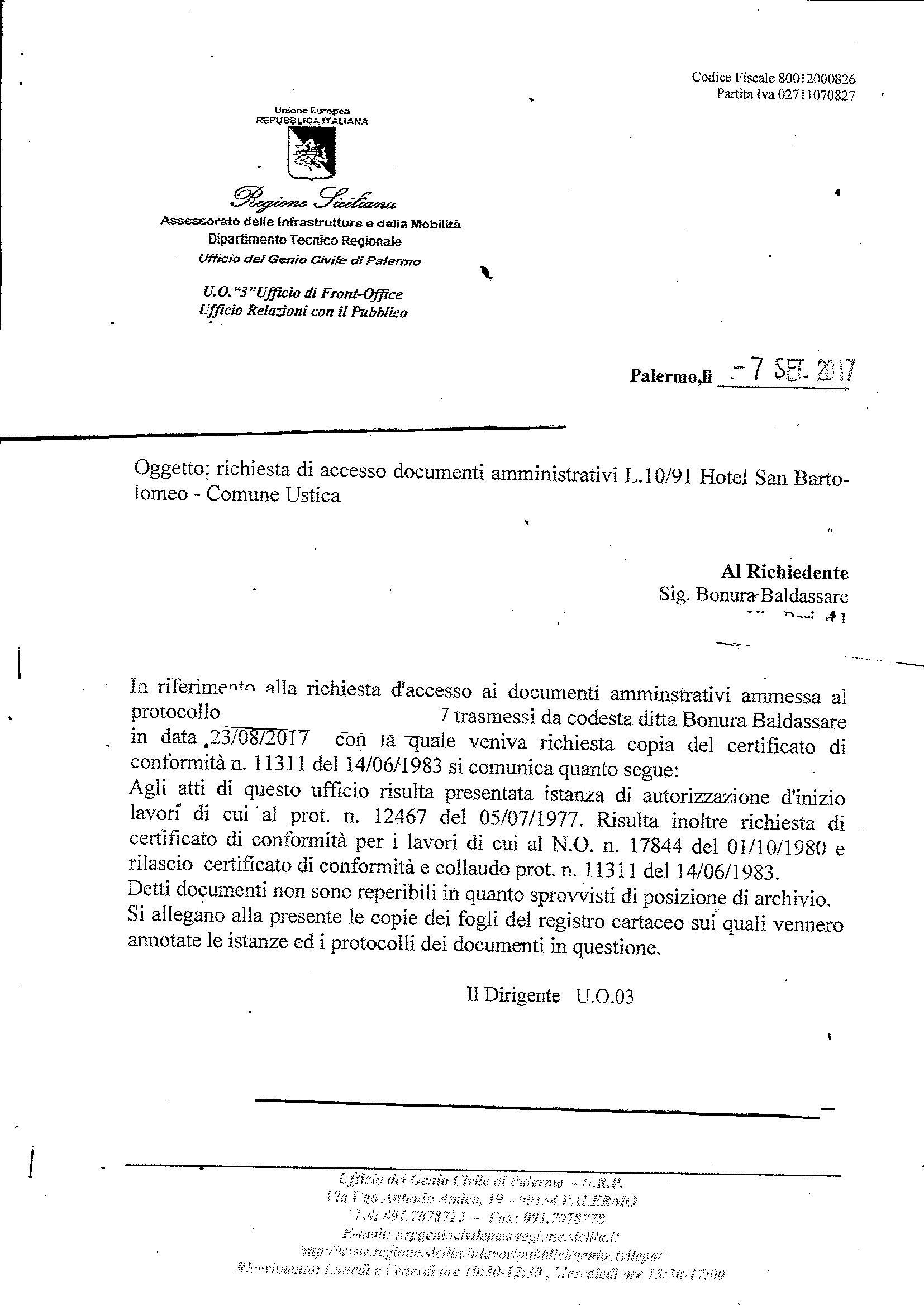 Accesso Atti presso il Genio Civile di Palermo 7 settembre 2017